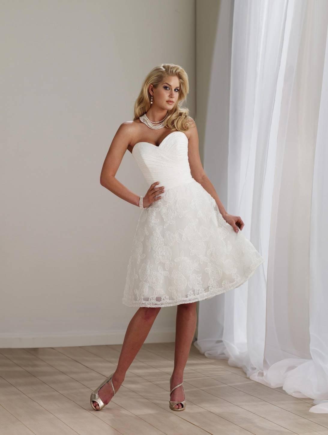 Short Wedding Dresses Ivory Lace Tulle Strapless Sweetheart  zoombridalcom  PRLog