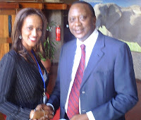 Ms. Sophia Bekele CEO of DCA Registry Servs. with H.E. Uhuru Kenyatta in Nairobi