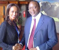 Ms. Sophia Bekele CEO of DCA Registry Servs. with H.E. Uhuru Kenyatta in Nairobi