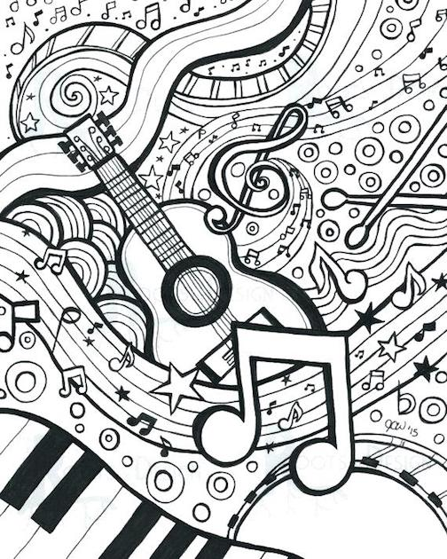 Music Coloring Pages For Adults Free And Printable