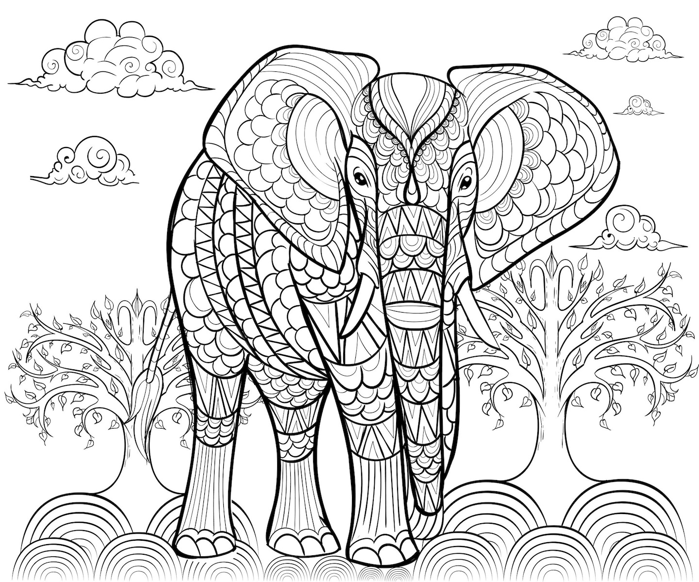 Stylized Elephant Coloring Pages And Dozens More Coloring