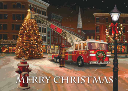 IAFF Holiday Cards IAFF Fire Truck Merry Christmas