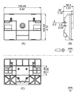 Dimensions extérieures de l'adaptateur extérieure du