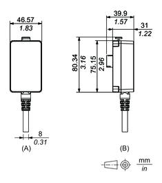 Dimensions du câble de séparation Display Module/Module