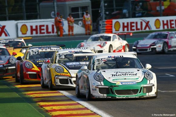 Porsche Mobil 1 Supercup Spa 2015 Come Ledogar (F) Christian Engelhart (D) Ben Barker (GB)