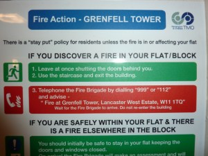 """""""Stay Put"""" Fire Action Sign, Grenfell Tower"""