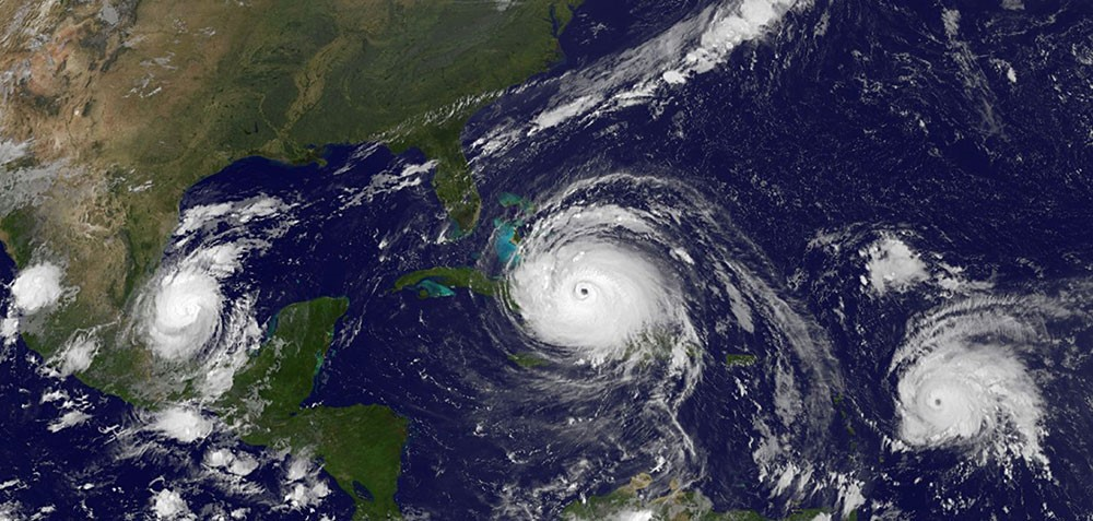 Satellite image of hurricanes Katia, Irma and Jose in September 2017