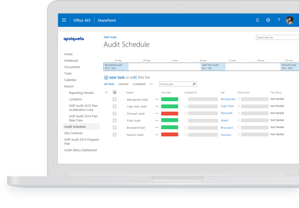 Pro-Sapien lets you manage Audits in a schedule on Office 365