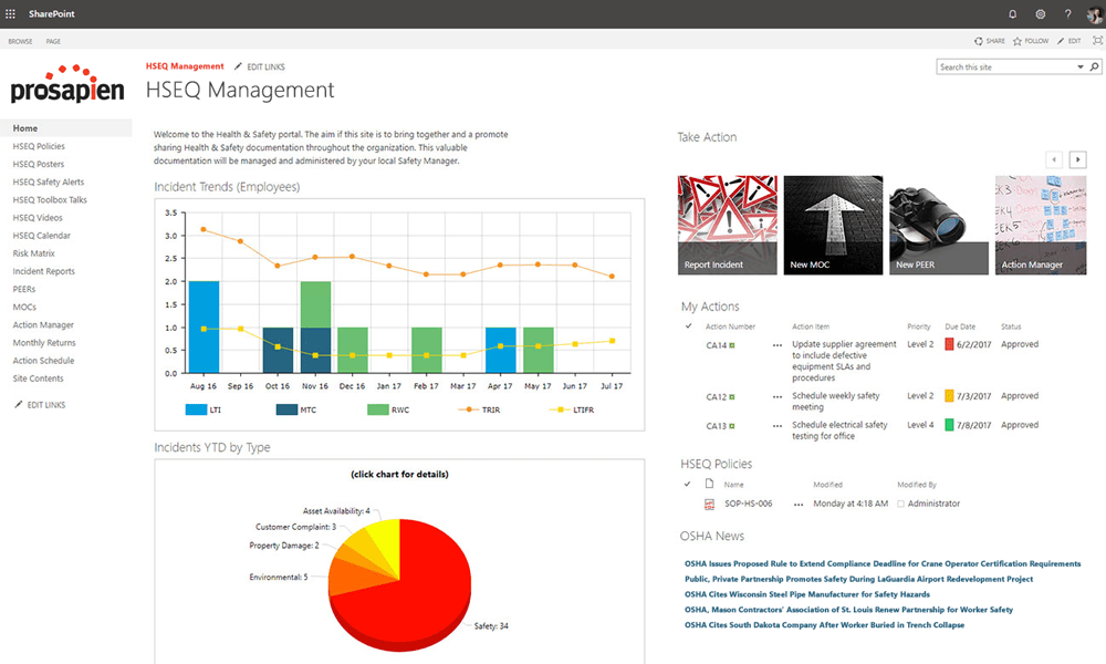 A HSEQ landing page in SharePoint