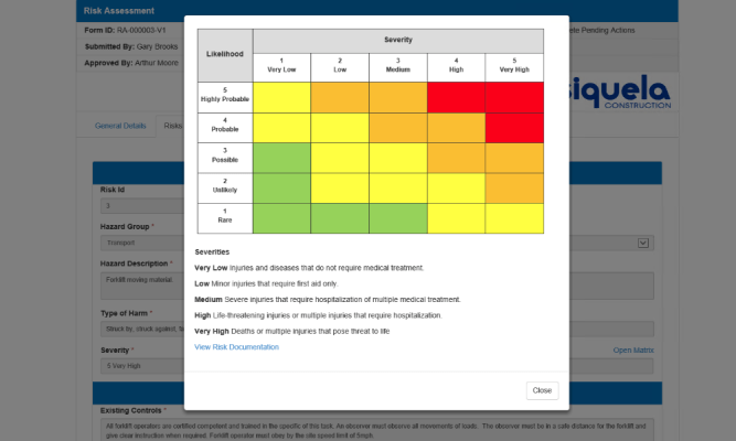 Use your company's risk matrix to categorize events