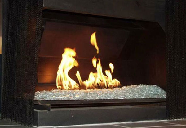Fireplace Glass Ceramic Gas Logs  Fire Glass Orange