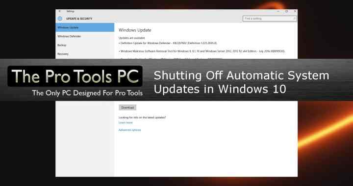 Shutting off automatic system updates In Windows 10