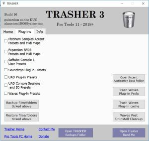 TRASHER Plug-in Backup and Restore