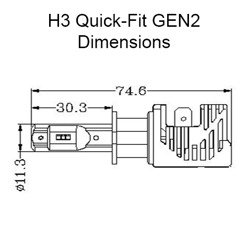 Quick-Fit H3 LED Headlight Globes for Cars, Trucks, and