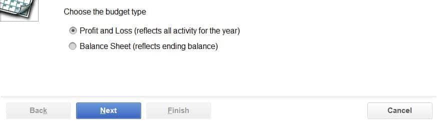 Create a budget from scratch option - Screenshot