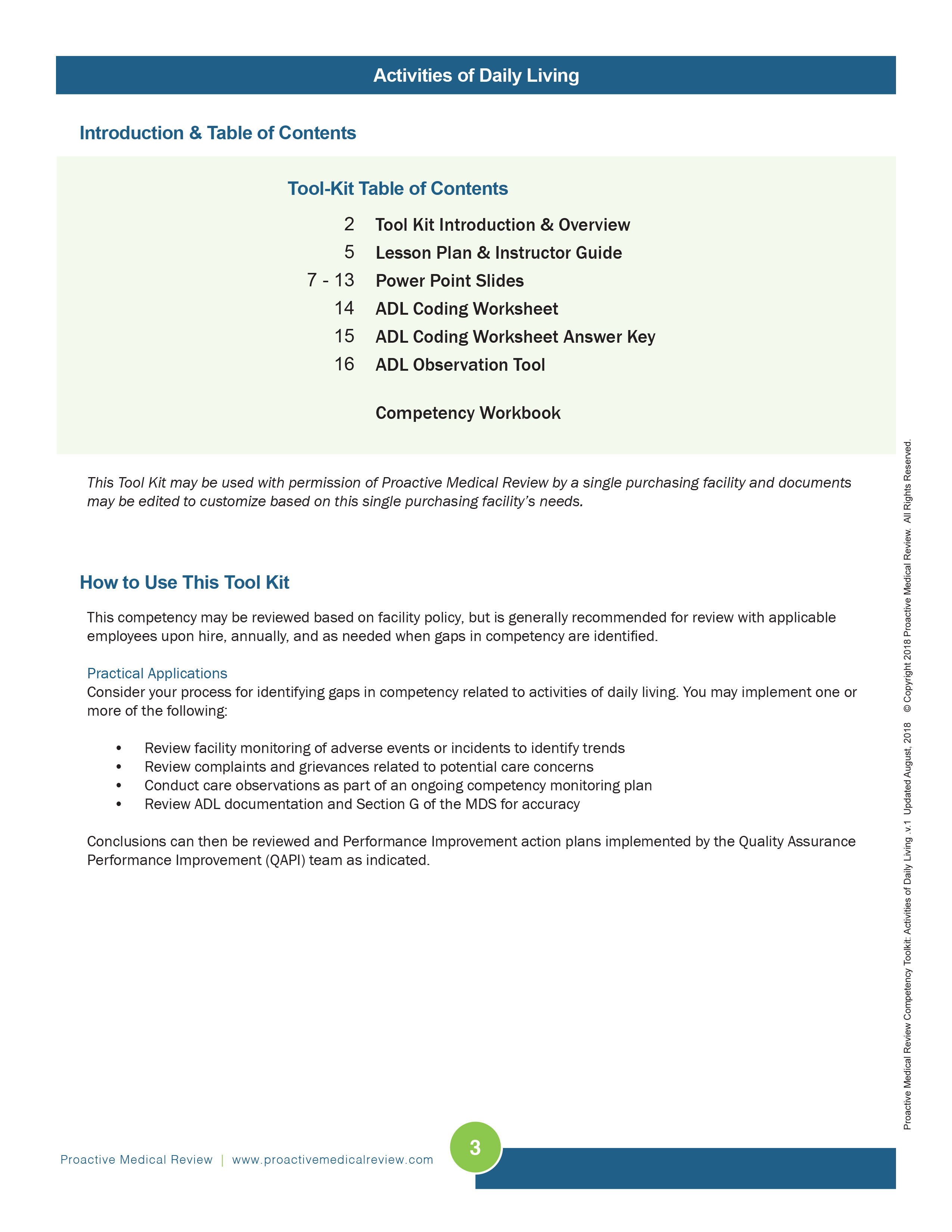 Activities Of Daily Living Competency Tool Kit