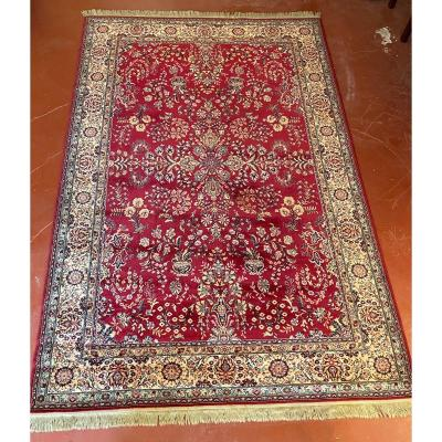 tapis persan 3m13 2m02 a decor rouge