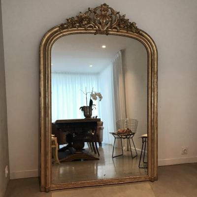 h 192 cm miroir dore feuille or