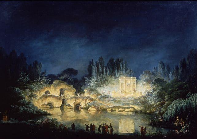 Illumination du Belvédère du Petit Trianon, 1781 Claude?Louis Châtelet (1753?1794), 1781, huile sur toile, Versailles, musée national des châteaux de Versailles et de Trianon © EPV