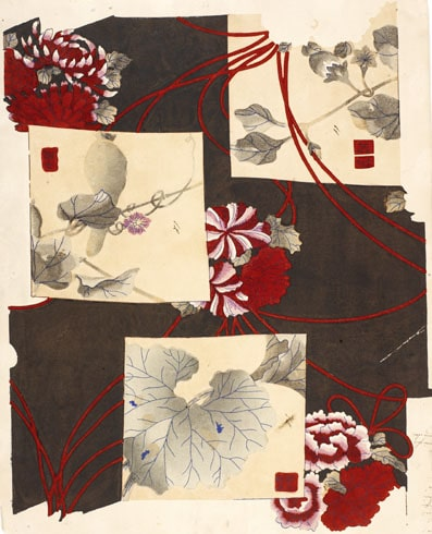 Empreinte pour impression sur mousseline-laine destinées au Japon Alsace, Mulhouse, Manufacture Wilhelm Frey, vers 1875-1879 Impression à la planche sur papier