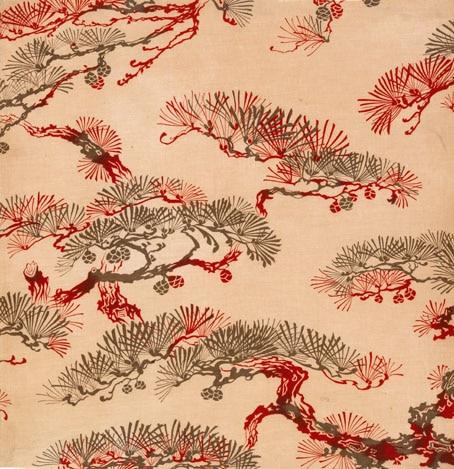 Echantillon à motif de pins parasol Alsace, Thann, manufacture Scheurer-Rott & Fils, vers 1890 Impression rouleau sur toile de coton (c) Musée de l'Impression sur Etoffes de Mulhouse