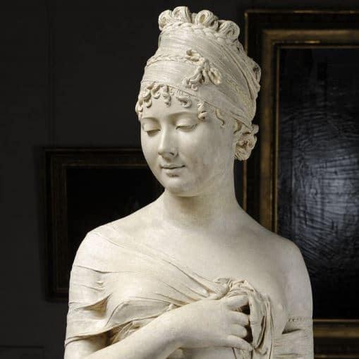 Joseph Chinard (1756-1813), Juliette Récamier (détail), 1798, plâtre patiné, 72 x 36 x 25,5 cm Lyon, musée des Beaux-Arts, © Lyon MBA / photo Alain Basset
