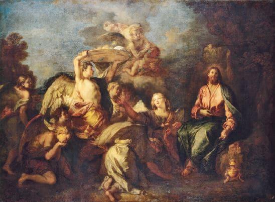 Charles de La Fosse Le Christ au désert servi par les anges Huile sur toile. © The State Hermitage Museum, Yuri MolodKovets