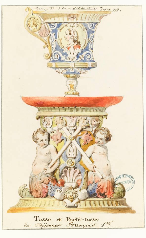 Tasse et porte-tasse du Déjeuner François Ier Alexandre-Evariste Fragonard. mine graphique, gouache et lavis (C) Sèvres – Cité de la céramique