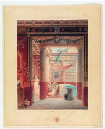 Félix Duban (Paris 1797- Bordeaux 1870) A Pompéia, dessin synthétique, 1832 Aquarelle sur papier