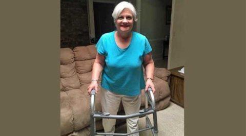 Sue Bohlin on walker