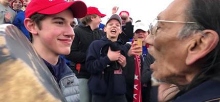 Covington student faces off Native American vet