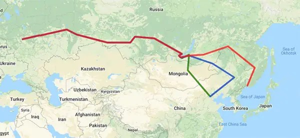 Map of Russia, Mongolia and China with the different train routes