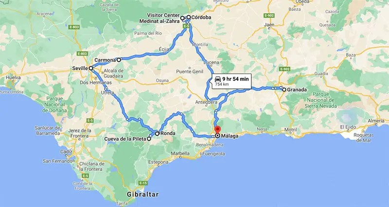 Map of Andalucia Spain with my road trip Itinerary