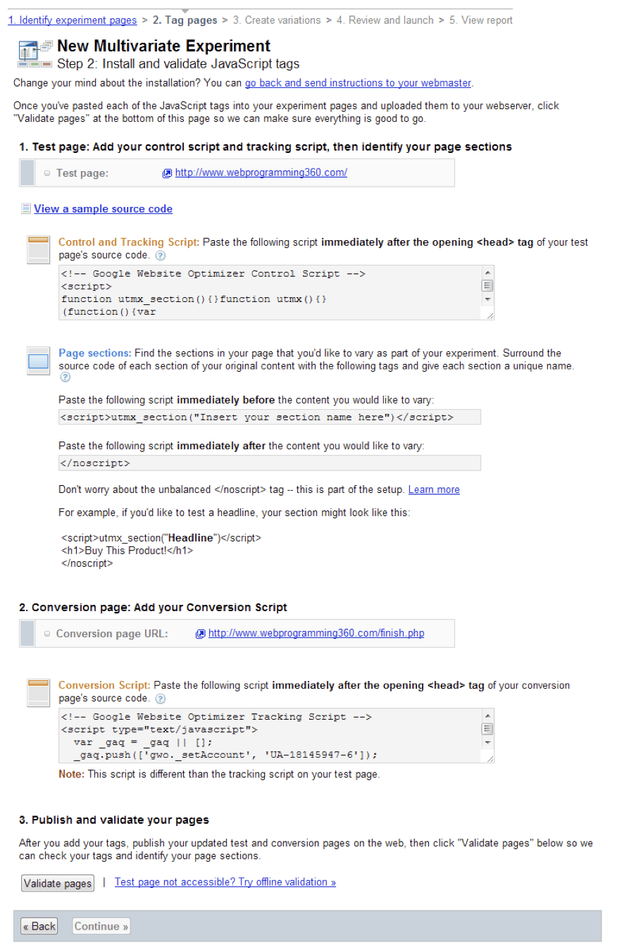 Google Website Optimizer provides the code