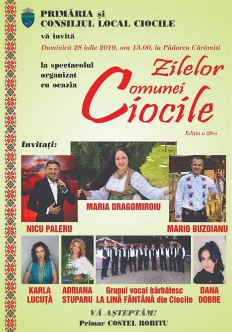 """Maria Dragomiroiu și Nicu Paleru vor cânta la """"Zilele comunei Ciocile"""""""