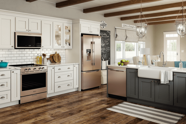 bronze kitchen appliances bar height tables a conversation with whirlpool about technology that matters combine beauty and efficiency smart in fingerprint resistant sunset