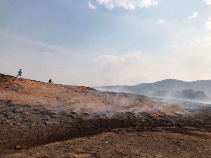 Menores sofocan un incendio en Guadalupe y Calvo. Foto: Especial