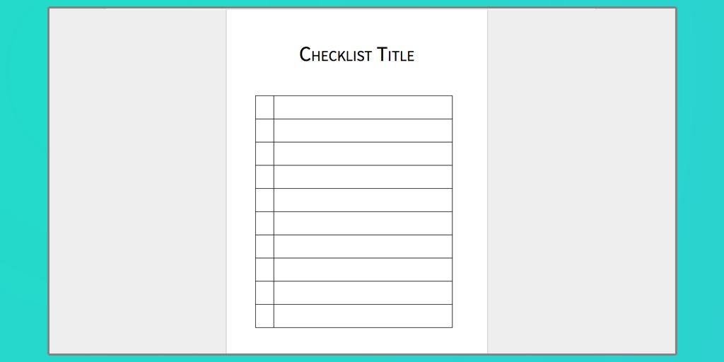 word checklist template download