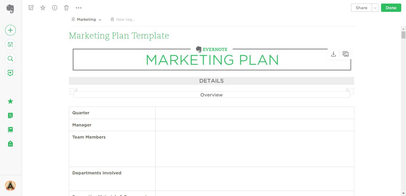 Marketing Plan Evernote Templates