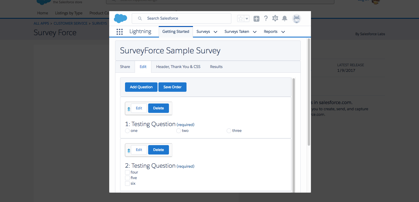 Create And Send Customer Feedback Forms From Inside Salesforce With  Salesforce's Survey Force App. Survey Force Has Support For Three Question  Types