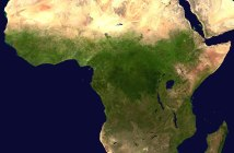 A satellite image displays the continent of Africa.