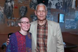 Emilye Crosby (left) with Julian Bond. Crosby is a Professor of History at the State University of New York . She is the author of Civil Rights History from the Ground Up: Local Struggles, a National Movement.