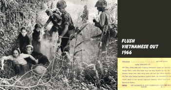 Four coughing Vietnamese women and children emerge from a thicket, observed by four armed American soldiers.