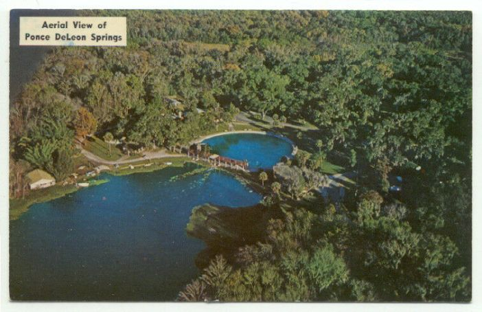"Green trees surround a deep blue lake. The text reads, ""Aerial View of Ponce DeLeon Springs."""
