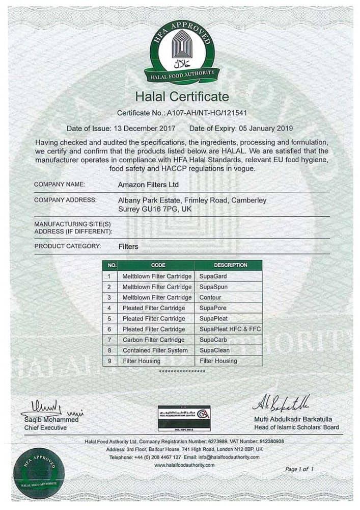 halal certified filtration
