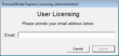 Generate a new license with only your email address.