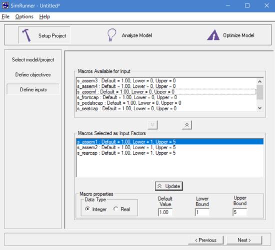 Define inputs in simrunner for model optimization