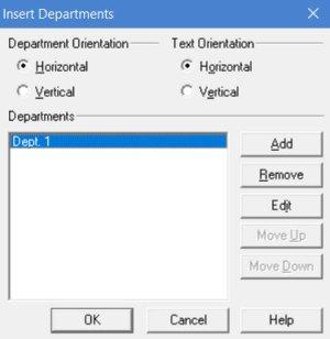 editing departments in processmodel