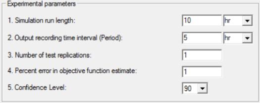 Experimental parameters in simrunner