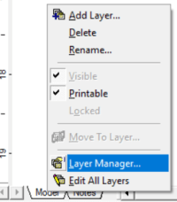 opening layer manager in processmodel